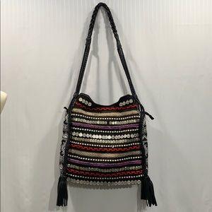 BIG BUDDHA Hobo Shoulder Bag Embellished Fringed
